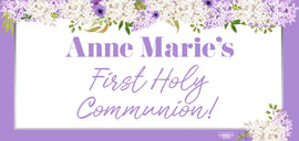 Banner - Custom Deluxe Religious White & Purple Flowers