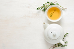Image of tea pot and cup - tea for glowing skin