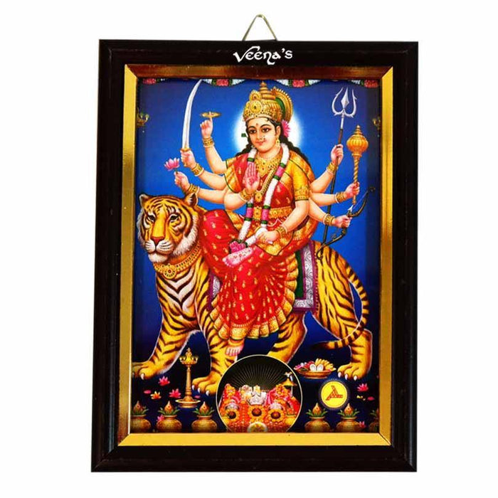 Hindu God Photo Frame 7cmX5cm (Durga) - veenas.com