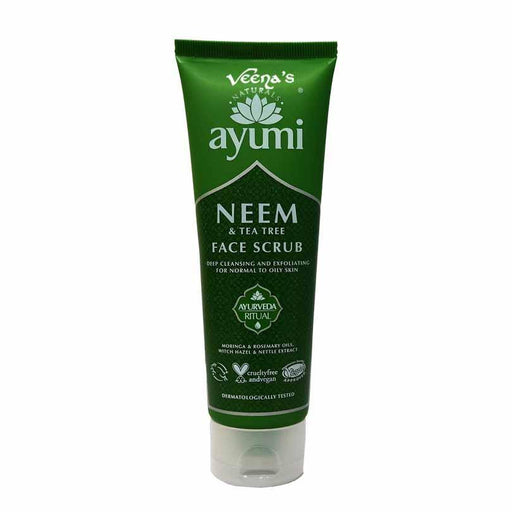 Ayumi Face Scrub Neem & Tea Tree 125ml - veenas.com