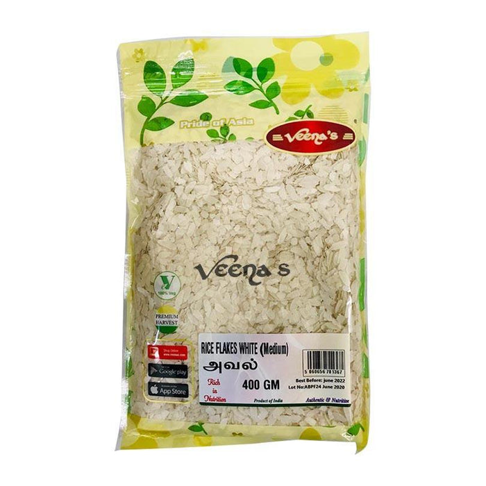Veenas White Rice Flakes Medium 400G - veenas.com