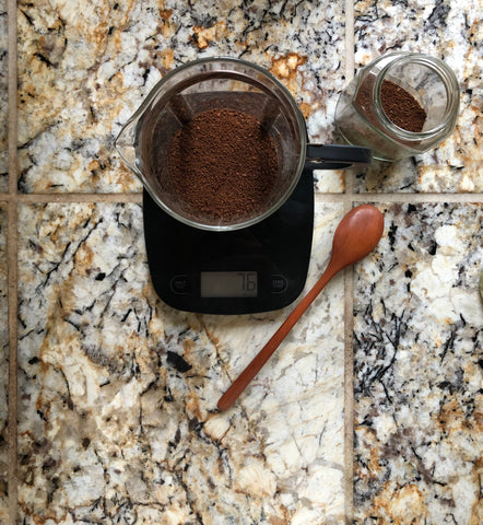 76 grams of coffee grounds in French press unit