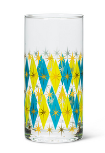 Diamond Highball Glass/ Tumbler - blue/green