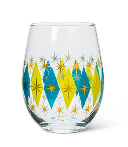Diamond Stemless Goblet - blue/green