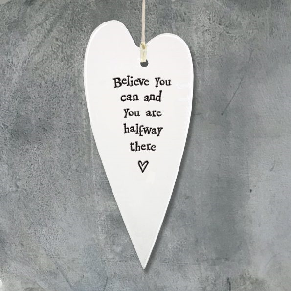 """Believe you can"" Porcelain Heart"