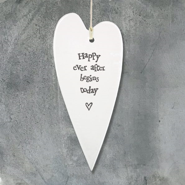 "East of India ""Happy Ever After Begins Today"" Porcelain Heart"