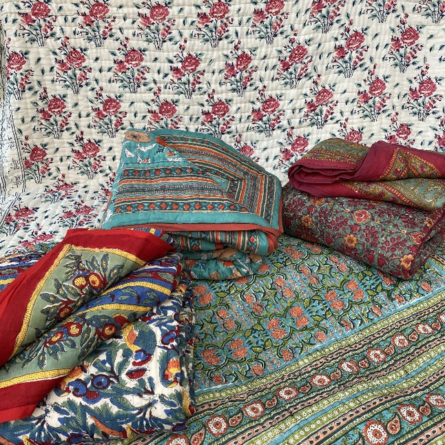 Cotton Kantha Reversible Quilts 210 x 265 cms.