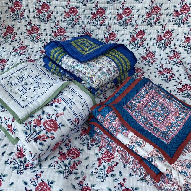 Cotton Kantha Reversible Quilts or Throws - 100 x140 cms