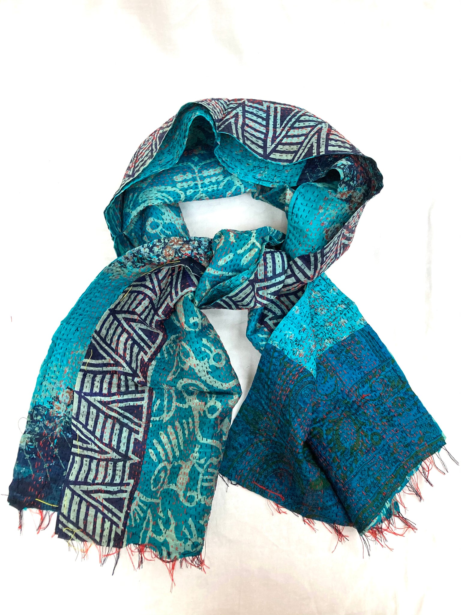 Silk Kantha Scarves