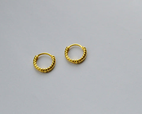 Small Twisted Gold Huggie Earrings