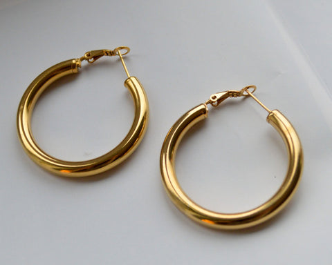 Gold Large Tube Hoop Earrings