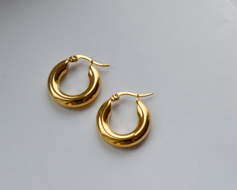 Gold Small Tube Hoop Earrings