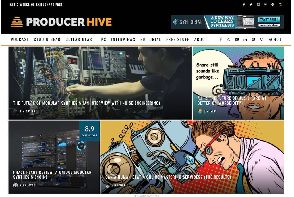 Top 10 music production blogs, producer hive