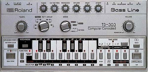 Roland TB303 Synths used in Techno Music