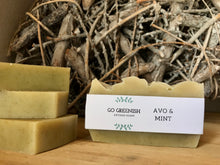 Load image into Gallery viewer, avo mint bar. avocado soap. peppermint soap. avo and peppermint artisan soap. natural bath and body products