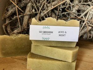 avo mint bar. avocado soap. peppermint soap. avo and peppermint artisan soap. natural bath and body products