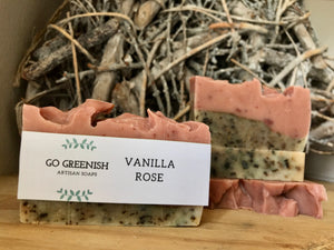 artisan soap. natural bath and body products. vanilla rose soap