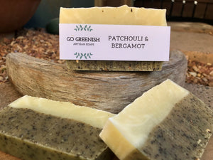 artisan natural soap. patchouli and bergamot soap