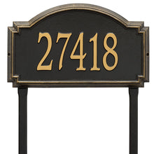 Load image into Gallery viewer, Whitehall williamsburg address plaque with black background and gold numbers. This includes stakes for an in ground mount