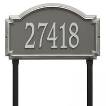 Load image into Gallery viewer, Whitehall williamsburg address plaque with pewter background and silver numbers. This includes stakes for an in ground mount