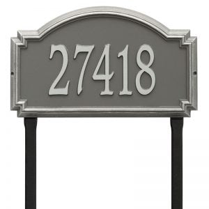 Whitehall williamsburg address plaque with pewter background and silver numbers. This includes stakes for an in ground mount