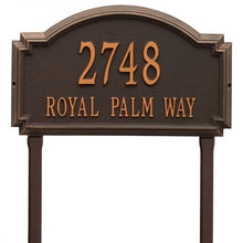 Load image into Gallery viewer, Whitehall williamsburg address plaque with bronze background and oil rubbed numbers and letters. This includes stakes for an in ground mount