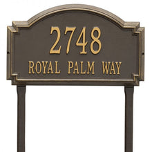 Load image into Gallery viewer, Whitehall williamsburg address plaque with bronze background and gold numbers and letters. This includes stakes for an in ground mount