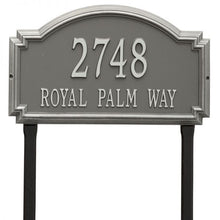 Load image into Gallery viewer, Whitehall williamsburg address plaque with pewter background and silver numbers and letters. This includes stakes for an in ground mount