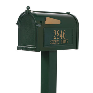 Whitehall green cast aluminum mailbox with custom address plaque on the side in gold letters and gold flag