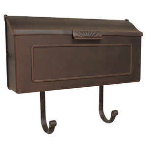 Copper horizontal mailbox with geometric pattern on front and optional newspaper scroll