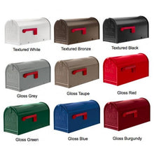 Load image into Gallery viewer, Janzer mailboxes with  9 different colors. These include white, bronze, black, grey, taupe, red, green, blue, and burgundy.