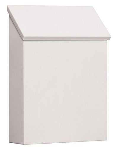 white powdered coat vertical wall mount mailbox with angled door on top
