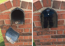 Load image into Gallery viewer, Before and after for Retrofit door in a encased brick mailbox