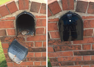 Before and after for Retrofit door in a encased brick mailbox