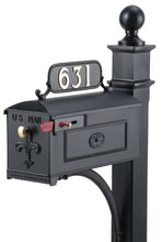 Load image into Gallery viewer, Black Imperial Estate Mailbox and Post. Fleur de Lis on the door with a brass knob and rosette on the side. This includes a red side pull flag.