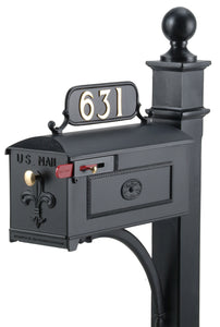Black Imperial Estate Mailbox and Post. Fleur de Lis on the door with a brass knob and rosette on the side. This includes a red side pull flag.