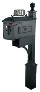 Black Imperial Estate Mailbox and Post. Fleur de Lis on the door with a brass knob and rosette on the side. This includes a red side pull flag. Newspaper holder is attached to the mailbox and post.