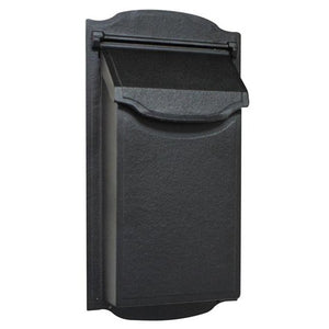 modern black vertical mailbox with non locking door