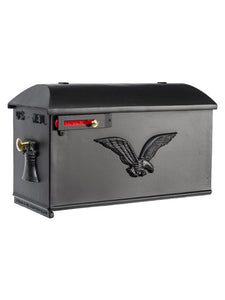 Box 4 imperial estate mailbox with soaring eagle on the sides and liberty bell on the door. This includes a brass knob on the door and red pull flag on the side.