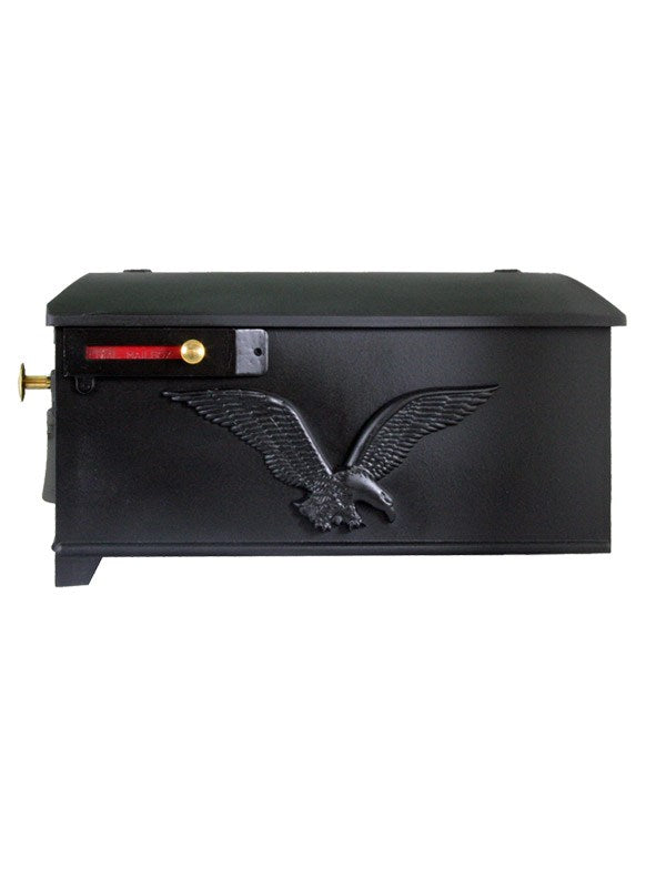 Imperial 4K black cast aluminum mailbox with eagle soaring on the side and liberty bell on the door. A Red flag and small and large brass knobs