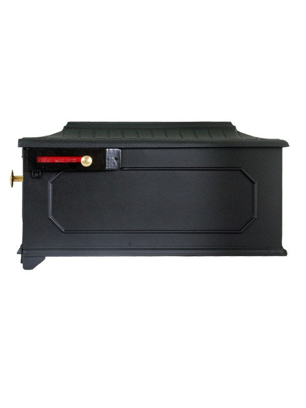 Imperial 8K black cast aluminum mailbox with octagon design on the side and door. Red flag and small and large brass knobs
