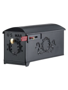 Imperial 9K black cast aluminum mailbox with wreath on the side and door. Red flag and small and large brass knobs