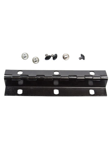 Black aluminum hinge with six holes and hardware. used for imperial mailbox
