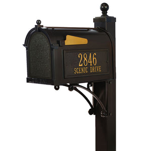 Whitehall bronze cast aluminum mailbox with custom address plaque on the side in gold letters and gold flag