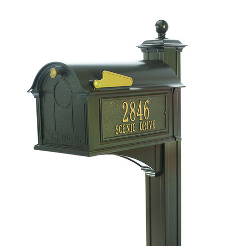 Bronze powder coated aluminum mailbox with gold flag, custom gold address plate, gold knob on the door, and 4 x 4 bronze post
