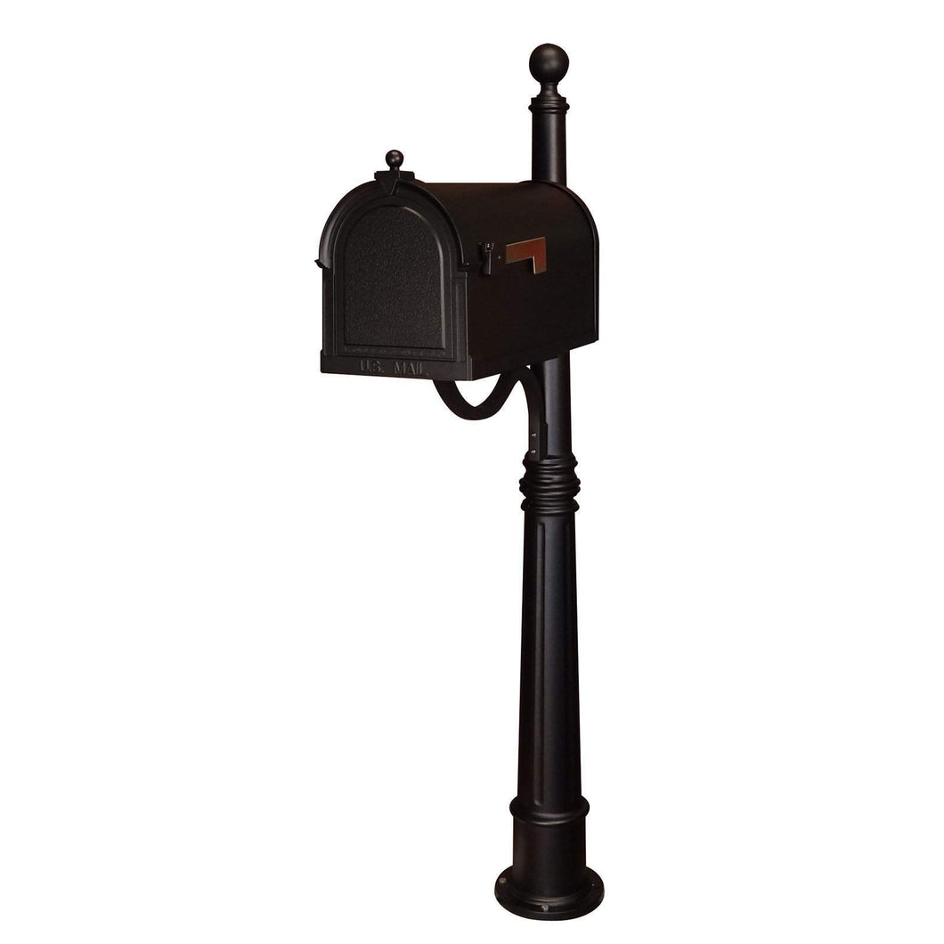 Special lite berkshire curbside black mailbox with leather grain door,  stainless steel hinge, and 2 inch brass numbers