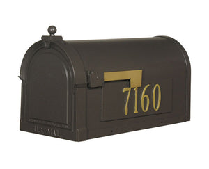 Special lite berkshire curbside mocha mailbox with leather grain door,  stainless steel hinge, and 2 inch brass numbers