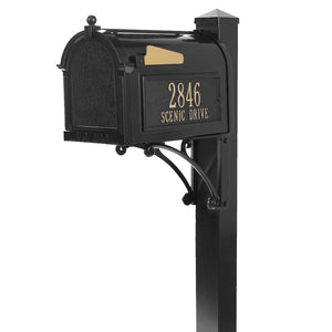 Whitehall black cast aluminum mailbox with custom address plaque on the side in gold letters and gold flag