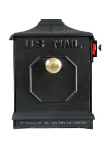 Black imperial geometric design mailbox with brass know and red slide flag