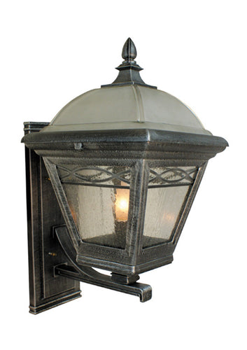 Brentwood bottom mount light with a water glass fixture, slim rectangular back plate, and two toned glass covering